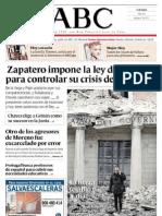 Diaris espanyols ZP vs Terratrèmol
