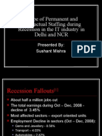 Scope of Permanent and Temporary Staffing during recession in Delhi and NCR