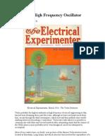 The Tesla High Frequency Oscillator (Winfield Secor)