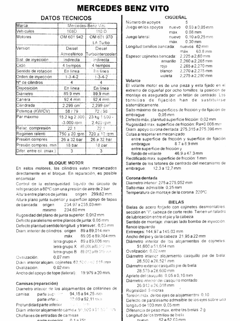 Manual Taller Mercedes MB Vito 108 110D V230TD