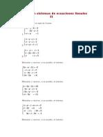Ejercicios de Sistemas de Ecuaciones Lineales II