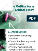 Critical Essay Sample Outline