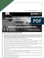 Prova de Transferencia Facultativa 2011 Letras Ingles
