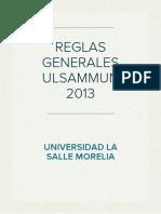 REGLAS GENERALES ULSAMUN 2013