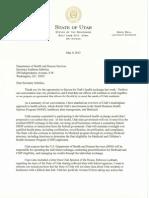 Utah Gov. Gary Herbert's exchange letter to Secretary Kathleen Sebelius