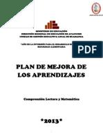 Plan Mejora Aprendizajes 2013