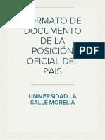 Formato de Documento de La Posicion Oficial Del Pais