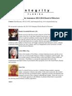 Integrity Florida Announces 2013-2014 Board of Directors