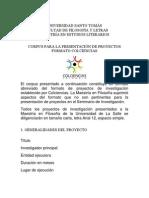 Corpus para la presentación de proyectos formato Colciencias