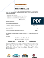 Press Release 2009 - Rallye Vidreiro
