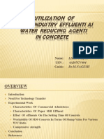 Utilization of Paper Industry Effluents as Water Reducing Agents in Concrete