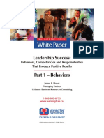 Leadership Success, Part 1 - Behaviors