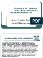 SWOT Analysis M. Ed Program Allam Iqbal Open By Abdul Ghaffar Tahir