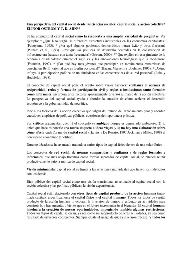 Capital Social - Ostrom (Resumen)