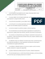 CONDICIONES MÍNIMAS DE HIGIENE Y SEGURIDAD EN LOS ALMACENES