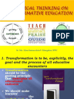 A Critical Thinking on Transformative Education
