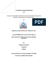 free project report on customer perception on reliance life insurance company