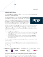 Letter to the Prime Minister - Ready for Ageing Alliance