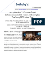 Sotheby's NY / Global Participation Propels Impressionist+Modern Evening Sale to $230 Million