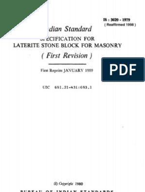 3620_1979_R1998 Laterite Stone Block Masonary | Geology