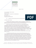 Landmark Legal Foundation's March 2012 letter to Treasury Dept. Inspector General