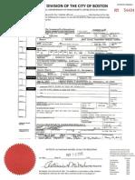 Death certificate - Tamerlan Tsarnaev