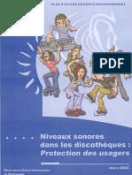 DRASS IdF - Rapport Niveaux sonores dans les discothèques - Protection des usagers - 2002