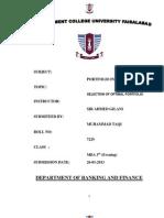 PFROJECT ON PORTFOLIO INVESTMENT