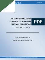 BASES DEL CONCURSO DE PROYECTOS DE INVESTIGACIÓN