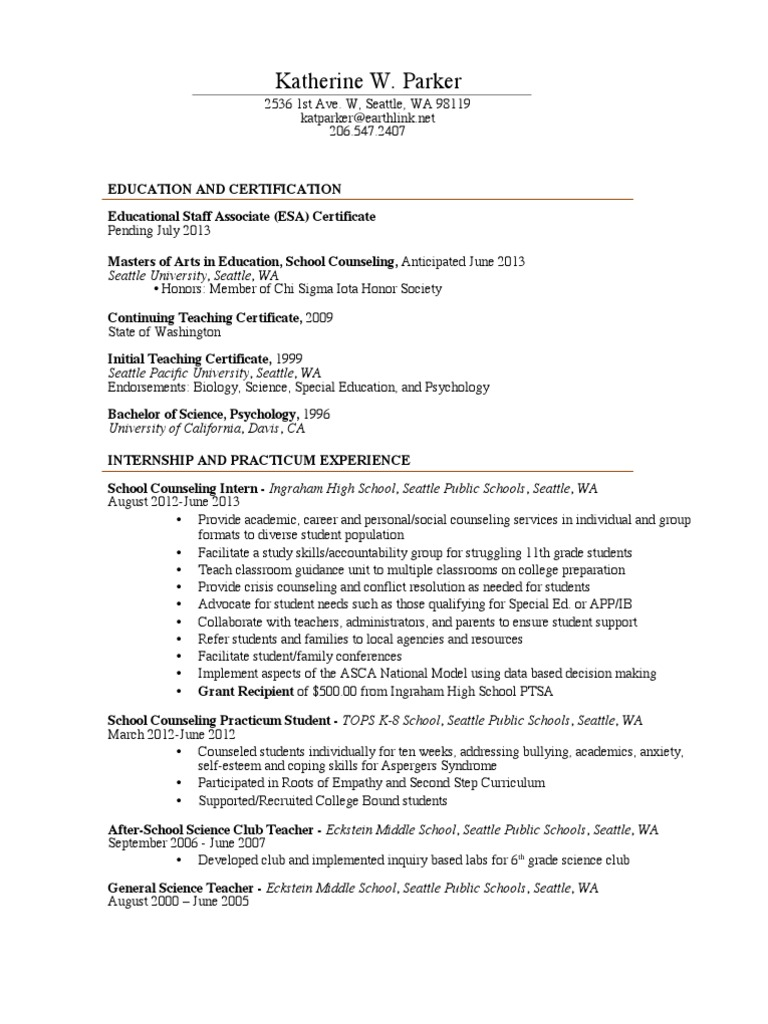 Resume School Counselor 2013 School Counselor Teachers