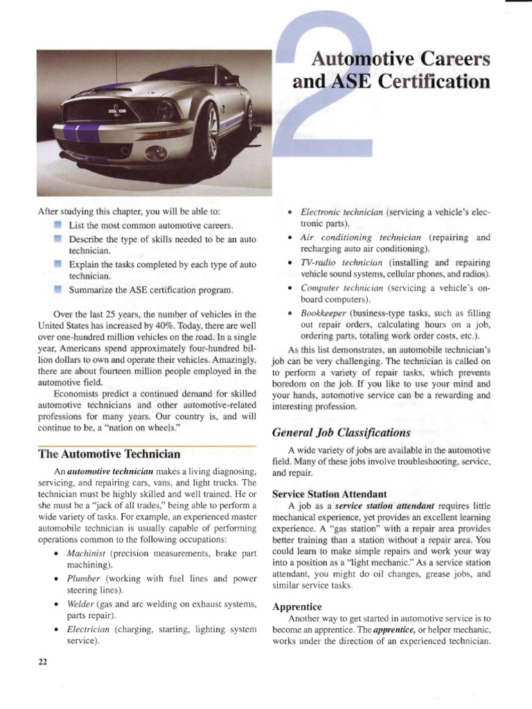 chapter 2 automotive careers ase certification transmission rh es scribd com Automotive Technician Education Automotive Technician Clip Art