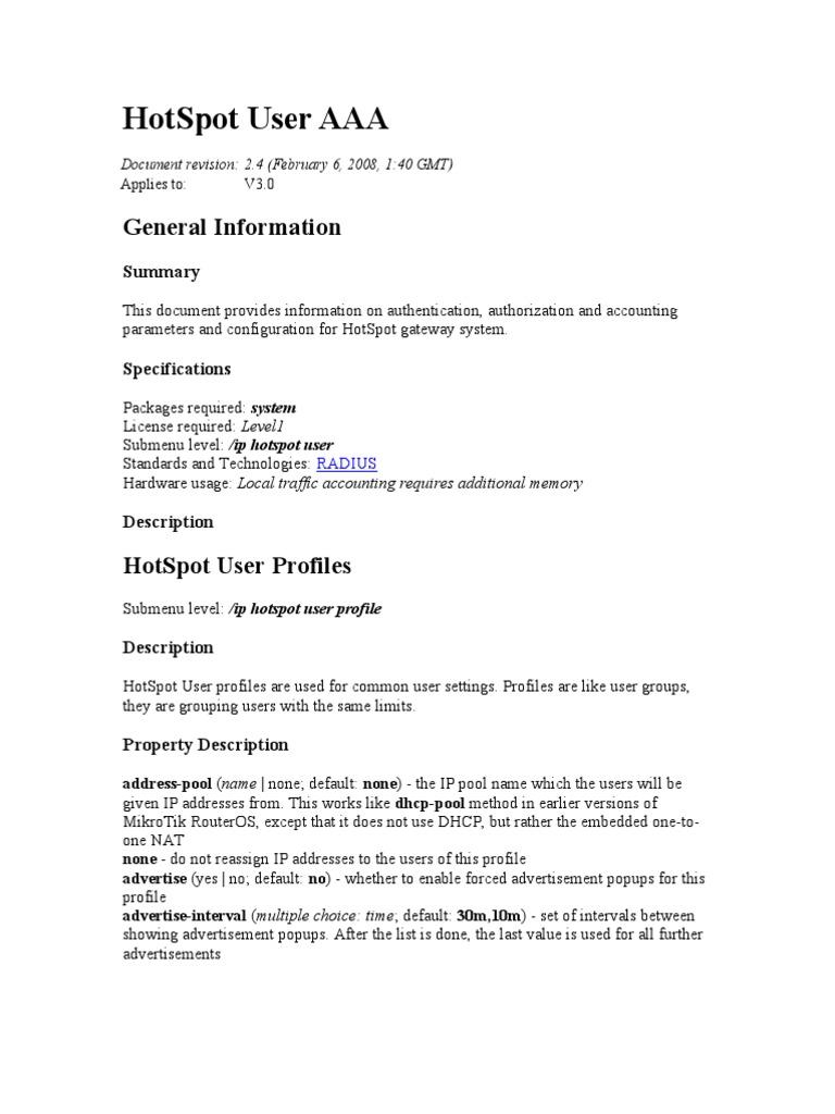Hotspot User Aaa: General Information