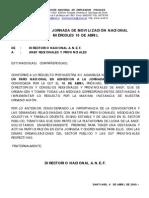 COMUNICADO POR JORNADA A REG. Y PROV. MOVILIZACIÓN NACIONAL DEL MIÉRCOLES 16 DE ABRIL