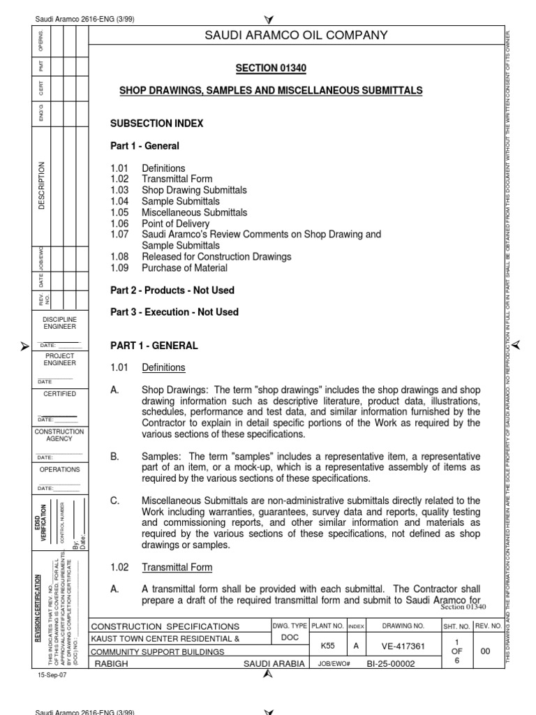 01340 Shop Drawing, Sample and Submittals | Specification (Technical ...