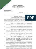 Ex Parte Petition to Assume Jurisdiction