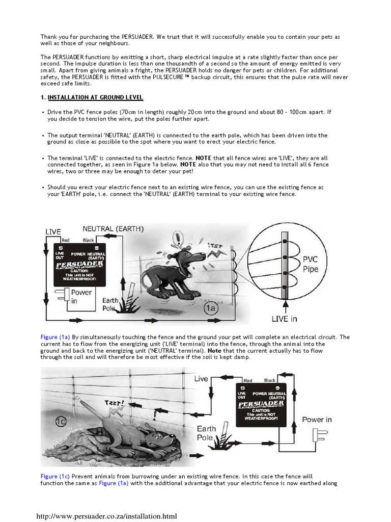 Pet Persuader Installation Electrical Engineering Electricity A Diagram To Wire Electric Dog Fence For