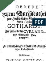 David 'Chyträus' Kochhafe [1589] - Lobrede Dem Durchleuchtigen, Hochlöblichen Fürsten vnd Herrn Gothardt, In Liffland, zu Cvrland, vnd Semigalln Herzogen etc.