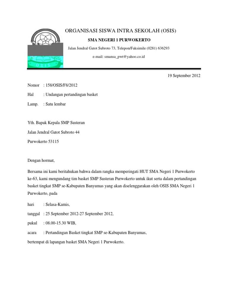 Contoh Surat Dinas Untuk Ketua Osis Contoh Surat Terbaru 2020