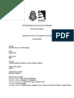 Programa - INTRODUCCIÓN A LA TRADUCTOLOGÍA