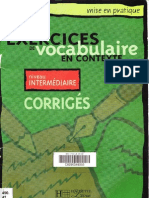 Exercices de vocabulaire en contexte - Niveau intermediaire (corrigés)