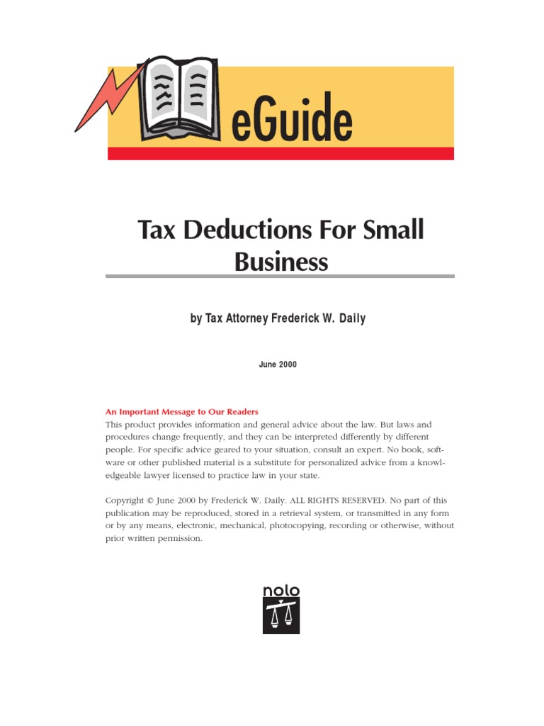 Tax Deductions For Small Business Nolo Expense Bad Debt