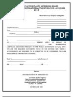 APPLICATION Form Corporations 2013