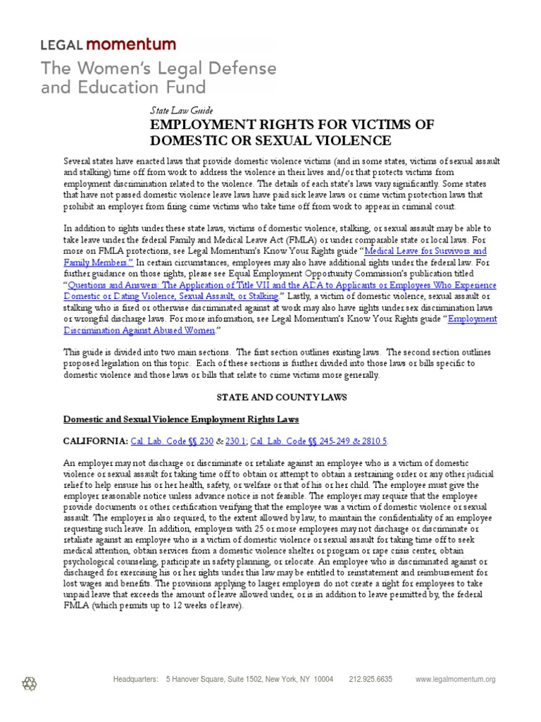 Employment Rights For Victims Of Domestic Or Sexual Violence