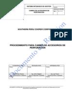 Procedimiento para cambio de accesorios de perforación