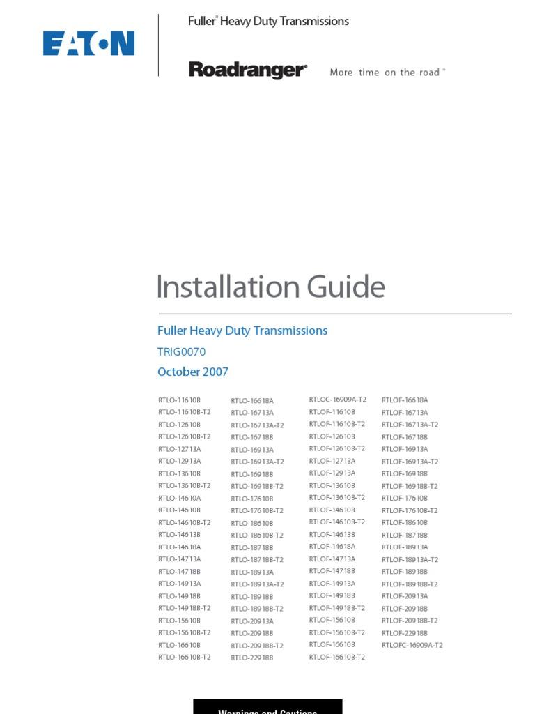 trig 00701007 installation guide fuller heavy duty transmissions rh scribd com RTLO-16913A Ratio 16913 Eaton Fuller Transmission Yoke