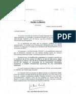 Carta de Barreda a la ministra Espinosa