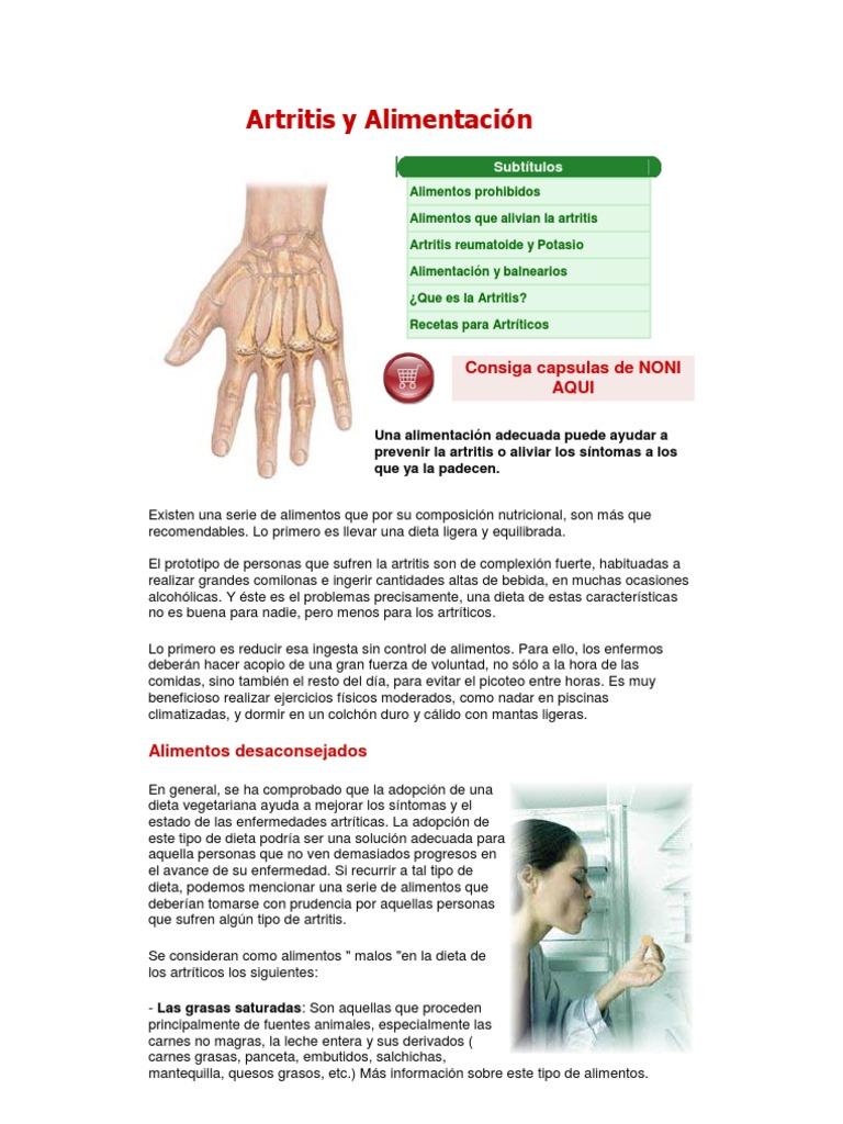 Artritis alimentos malos para la
