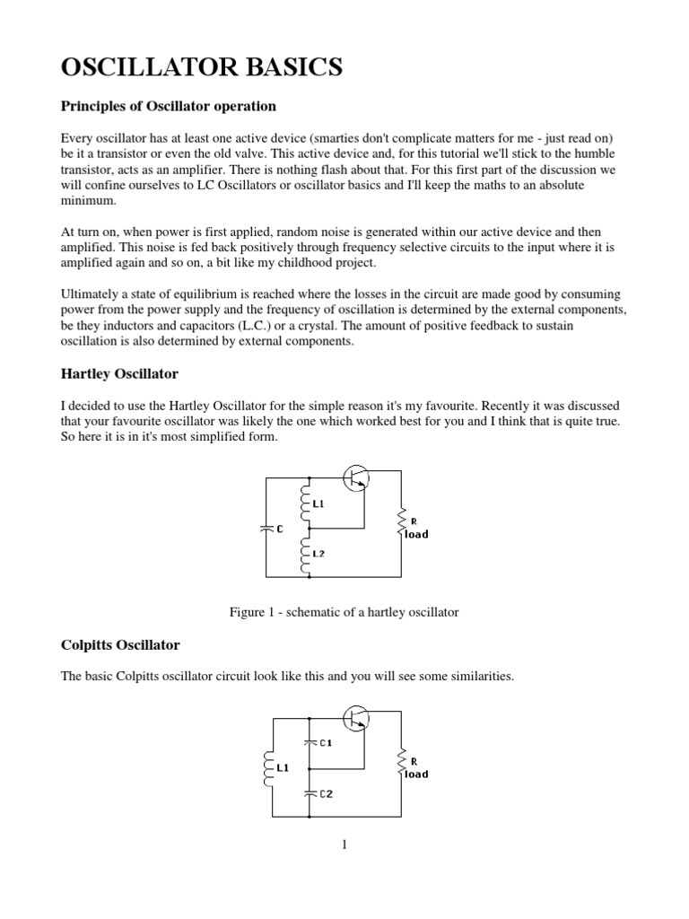 Oscillator Basics Electronic Capacitor Hartley