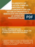 REGLAMENTO DE APLICACIÓN PARA EL PROCESO DE LICENCIAMIENTO