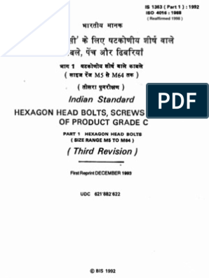 Indian Standard IS 1363(Part1):1992   Screw   Nut (Hardware)